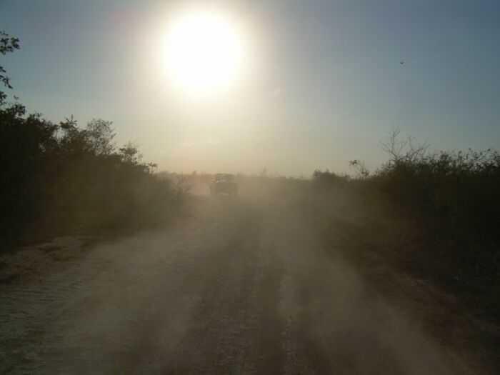 Пыль от проезжающих машин в непосредственной близости от жилых домов