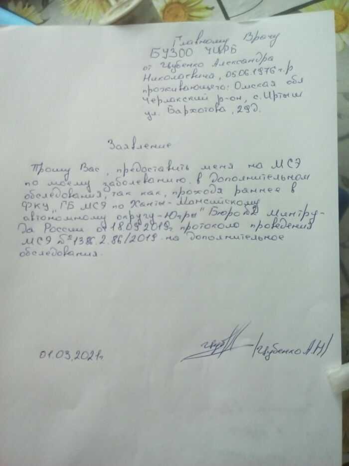 Заявление на МСЭ в дополнительном обследования.